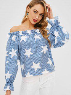 Imprimé à Rayures étoiles Sur L'épaule - Bleu Léger  M