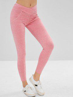 Mid Waist Scrunch Leggings - Pink Rose S