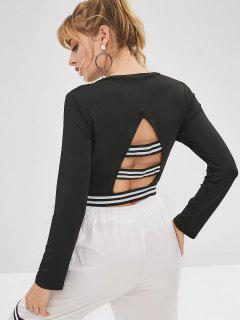 Stripes Cut Out Cropped Tee - Black L