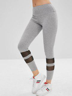 Mesh Panel Mid Waist Leggings - Gray Xl