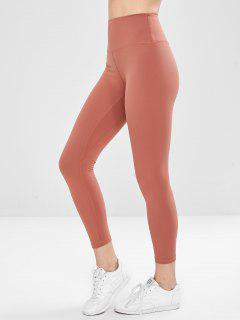 High Waisted Sports Compression Leggings - Orange Salmon L