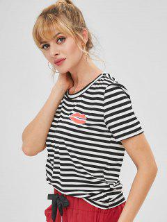 Camiseta A Rayas Con Estampado De Besos - Multicolor Xl