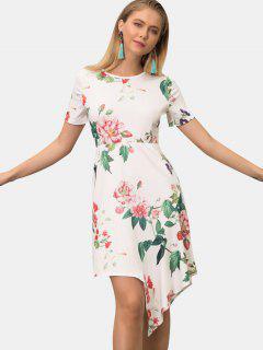 Asymmetrisches Kleid Mit Pflanzenmuster - Weiß 2xl