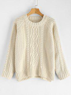 ZAFUL Slit Cable Knit Raglan Sleeve Sweater - Warm White