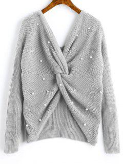V Neck Twist Pearly Sweater - Gray Cloud