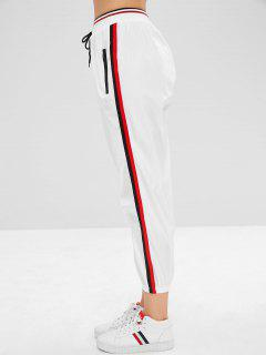 Zippered Striped Jogger Pants - White S