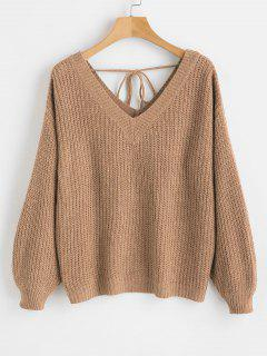 V Neck Drop Shoulder Oversized Sweater - Camel Brown S