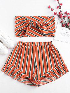 ZAFUL Stripes Tie Front Bandeau Top Set - Naranja Papaya S