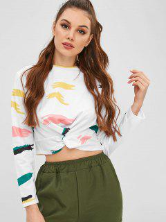 Cropped Printed Twist Tee - White M
