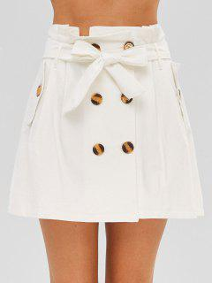 A Line Double Breasted Skirt - White L