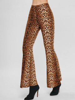 Pantalones Capri Acampanados Con Estampado De Leopardo - Leopardo L