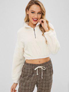 Zipped Cropped Fleece Pullover Sweatshirt - Milk White M