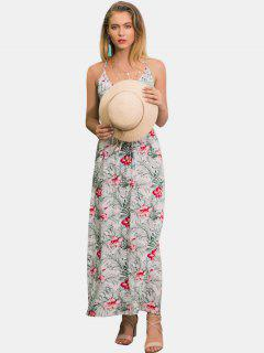 Floral Leaf Print Tie Maxi Dress - White L
