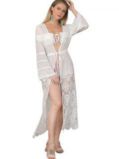 Lace Panel Waist Drawstring Kimono - White S