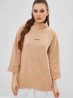 Drop Shoulder Letter Embroidered Sweatshirt - Tan