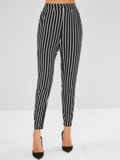 Pleated-detail Striped Pants - Black L