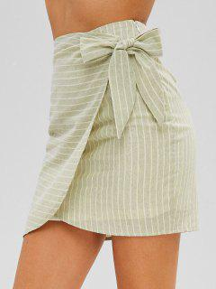 Tie Overlay Striped Skirt - Salad Green M