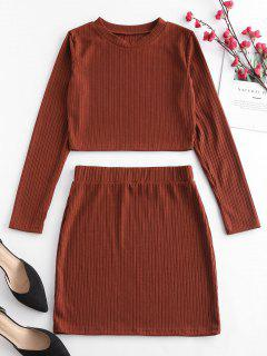 ZAFUL Cropped Ribbed Top And Skirt Set - Brown M