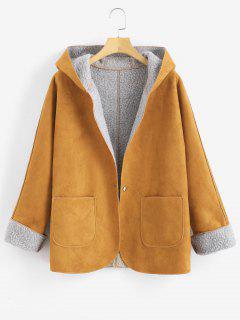 Manteau à Capuche Peau De Mouton à Manches à Rebords - Jaune D'abeille M