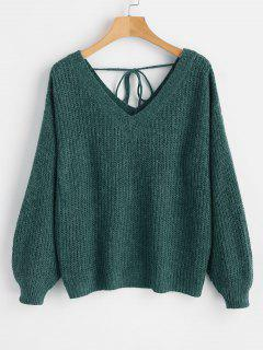 V Neck Drop Shoulder Oversized Sweater - Green M