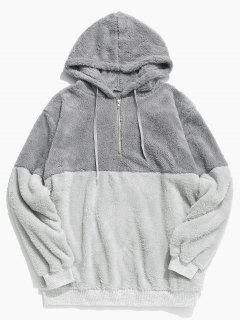 Faux Fur Half Zip Panel Hoodie - Light Gray M