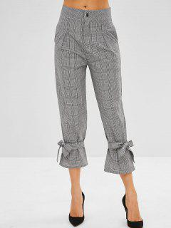 Cropped Plaid Tie Cuffs Pants - Multi M