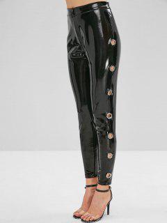 Pantalon En Cuir Synthétique Avec Oeillet - Noir M