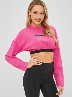 Drop Shoulder Letter Crop T-shirt - Rose Red M