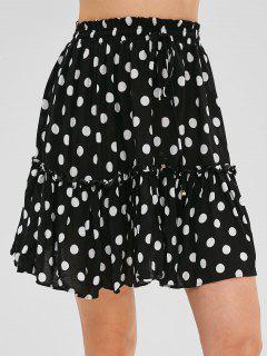 A Line Polka Dot Mini Skater Skirt - Black M