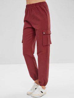 Pantalon à Taille Haute Avec Poche Latérale - Rouge Vineux L