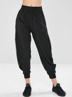 Pantalones De Volantes Con Cordón De Inserción De Rejilla - Negro Xl