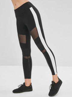 Color Block Mesh Insert Leggings - Black L