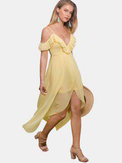 Ruffles Cold Shoulder Dress - Yellow Xl