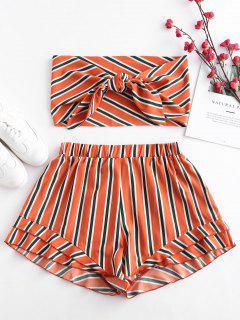 ZAFUL Stripes Tie Front Bandeau Top Set - Papaya Orange S