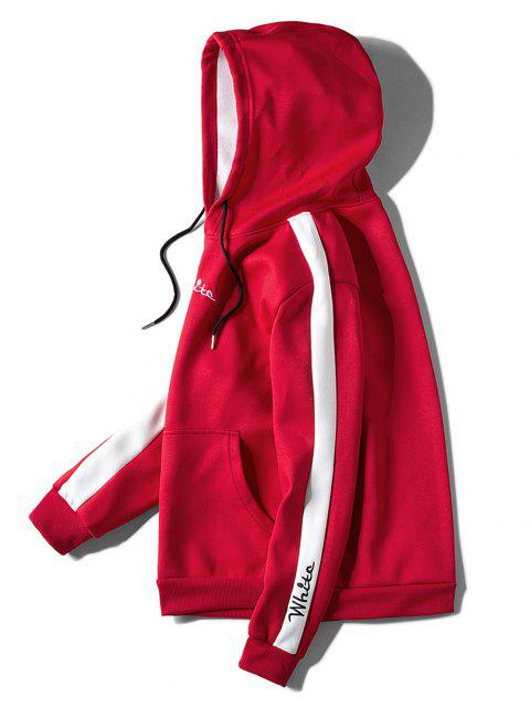 hot Contrast Embroidery White Pocket Fleece Hoodie - RED XL Mobile
