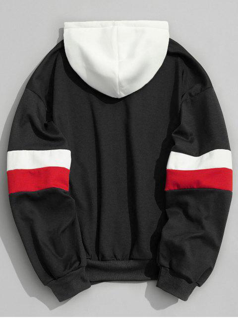 best Drawstring Splicing Color Block Hoodie - BLACK S Mobile