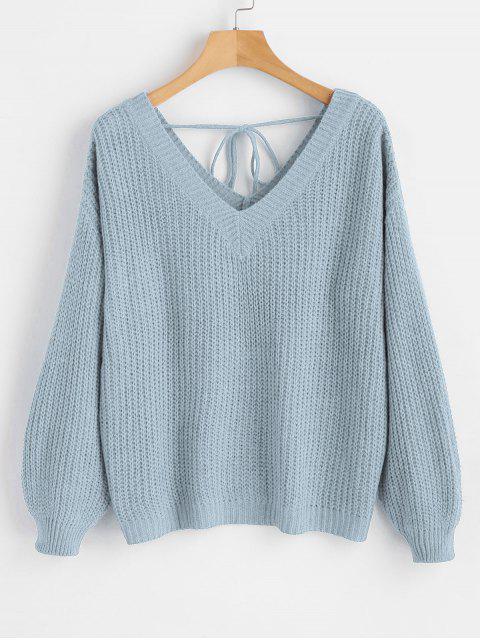 Suéter con cuello en V y hombros descubiertos - Azul Claro S Mobile