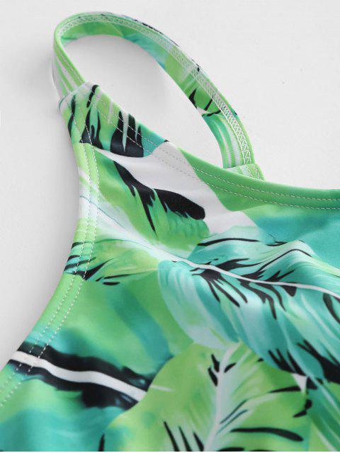 Traje de baño de hombro de hoja de palma - Alien Verde M Mobile