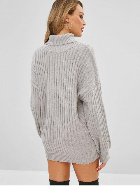 outfits Drop Shoulder Turtleneck Sweater Dress - GRAY CLOUD ONE SIZE Mobile