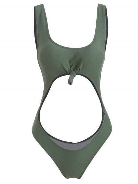 affordable Cut Out High Leg Knotted Swimsuit - CAMOUFLAGE GREEN L Mobile