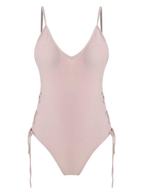 womens Lace-up One Piece Swimsuit - PINK M Mobile
