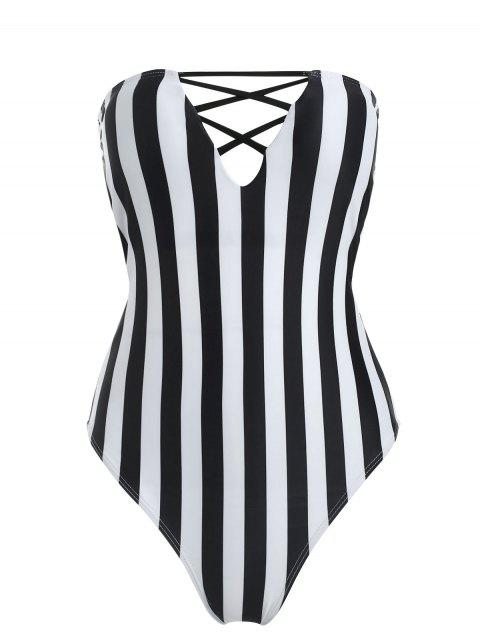 womens Striped High Cut Tube Swimsuit - BLACK M Mobile