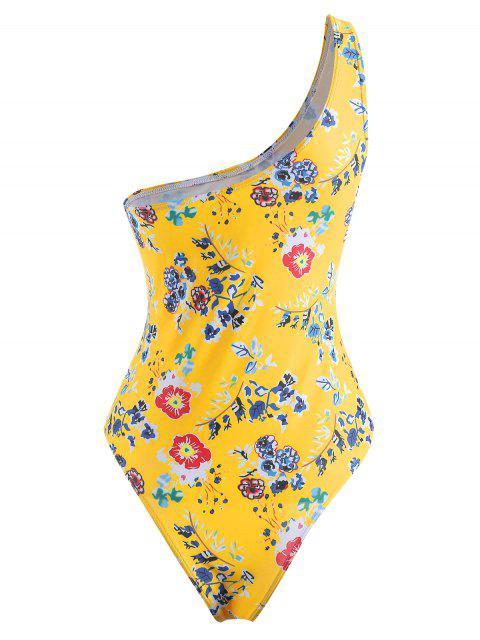 unique Floral High Cut Swimsuit - SUN YELLOW S Mobile