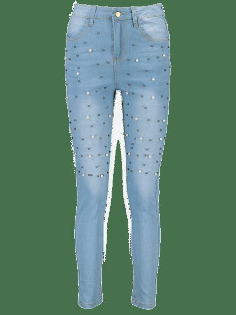 Perlas de imitación abalorios lavado ligero Vaqueros - Azul Denim M Mobile