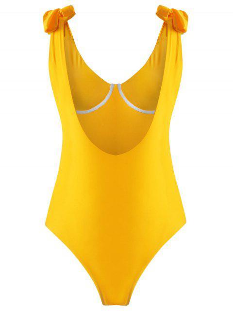 Traje de baño con aro en el hombro - Amarillo Brillante L Mobile