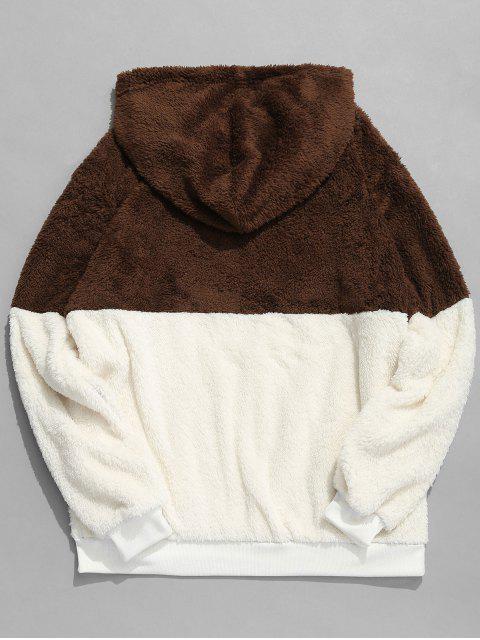 lady Faux Fur Half Zip Panel Hoodie - COFFEE S Mobile