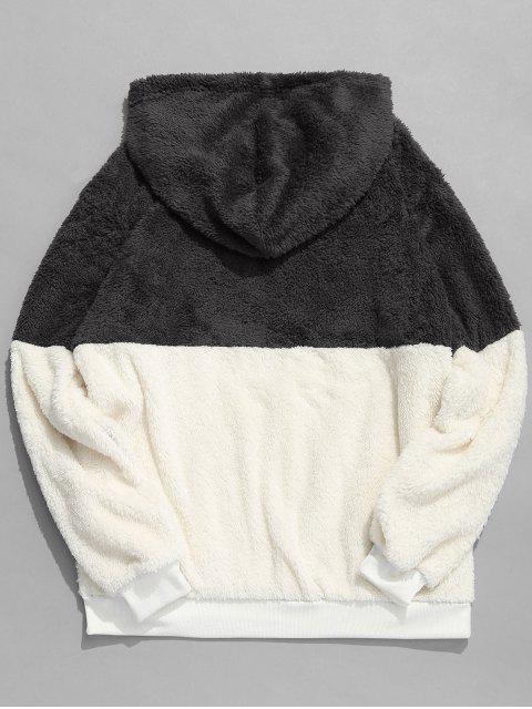 new Faux Fur Half Zip Panel Hoodie - DARK GRAY M Mobile