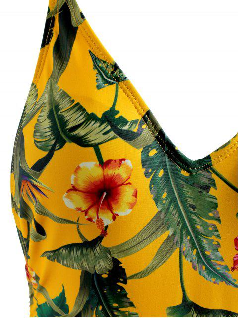 ladies Jungle Leaves High Leg Tied Swimsuit - RUBBER DUCKY YELLOW S Mobile