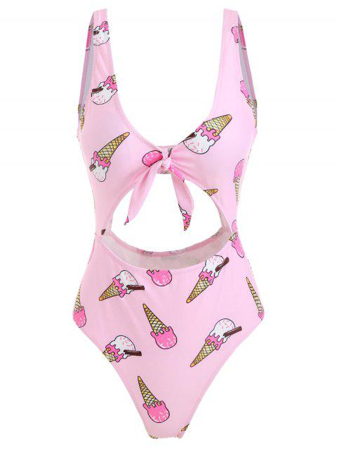 fancy Ice Cream Knot High Cut Swimsuit - LIGHT PINK L Mobile