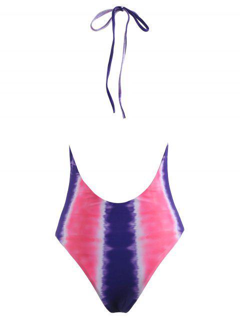Traje de baño sin espalda con efecto tie dye de corte alto - Rosa Brillante S Mobile